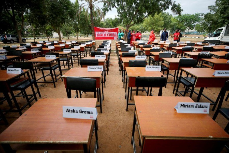 FILE PHOTO: Names of missing Chibok school girls kidnapped by Boko Haram insurgency five years ago are displayed during the 5th year anniversary of their abduction, in Abuja - Reuters