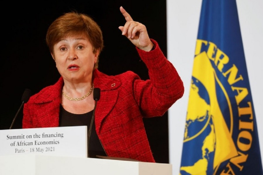 International Monetary Fund (IMF) Managing Director Kristalina Georgieva speaks during a joint news conference at the end of the Summit on the Financing of African Economies in Paris, France May 18, 2021. Ludovic Marin/Pool via REUTERS