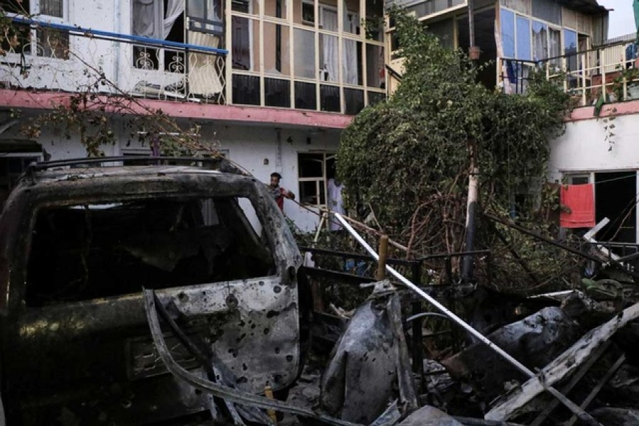 General view of a residence house destroyed after a rocket attack in Kabul, Afghanistan August 29, 2021 — Reuters/Stringer