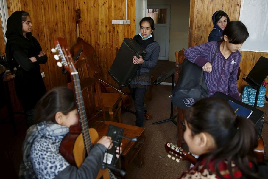 Members of the Zohra orchestra, an ensemble of 35 women, practises during a session, at Afghanistan's National Institute of Music, in Kabul, Afghanistan on April 4, 2016 — Reuters/Files