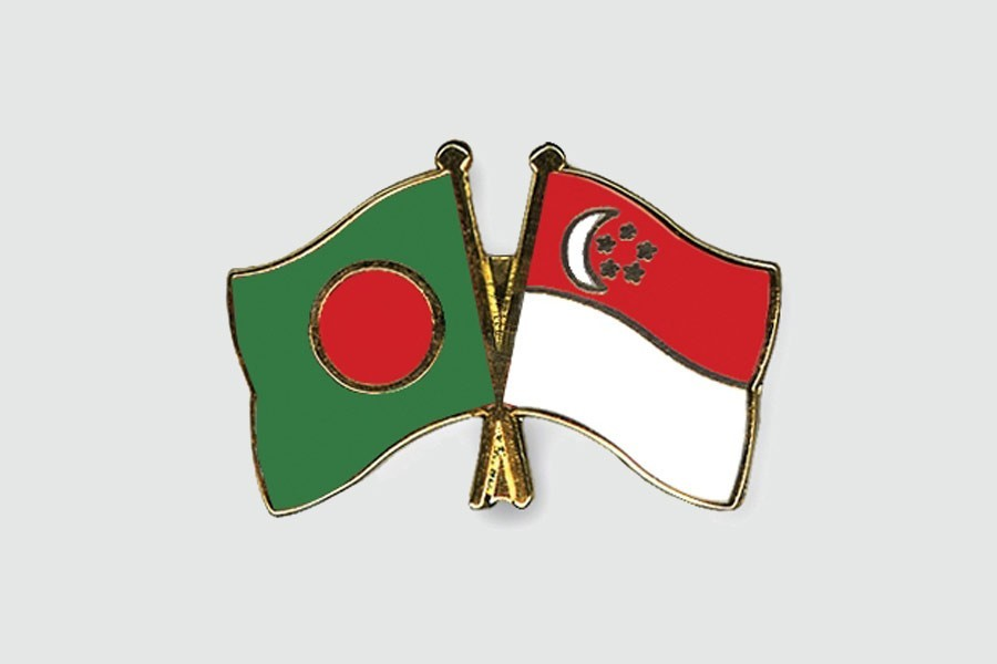 Flags of Bangladesh and Singapore are seen cross-pinned in this photo symbolising friendship between the two nations