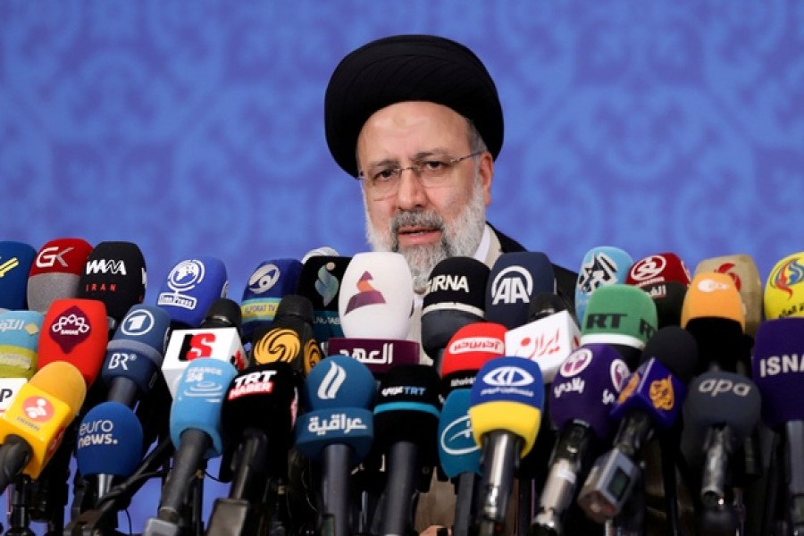 Ebrahim Raisi, who assumed office as Iran's president this month, speaks during a news conference in Tehran, Iran June 21, 2021 — WANA via Reuters