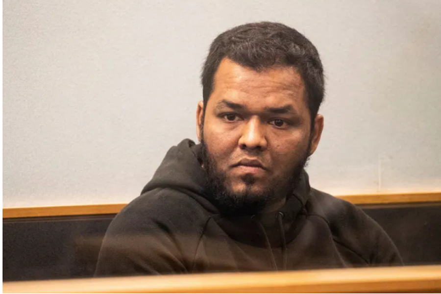 Ahmed Aathill Mohamed Samsudeen appears in the High Court in Auckland, New Zealand, August 7, 2018, after he was found possessing a series of images which depict extreme violence, cruelty, death and graphic war scenes [File: Greg Bowker/New Zealand Herald via AP]