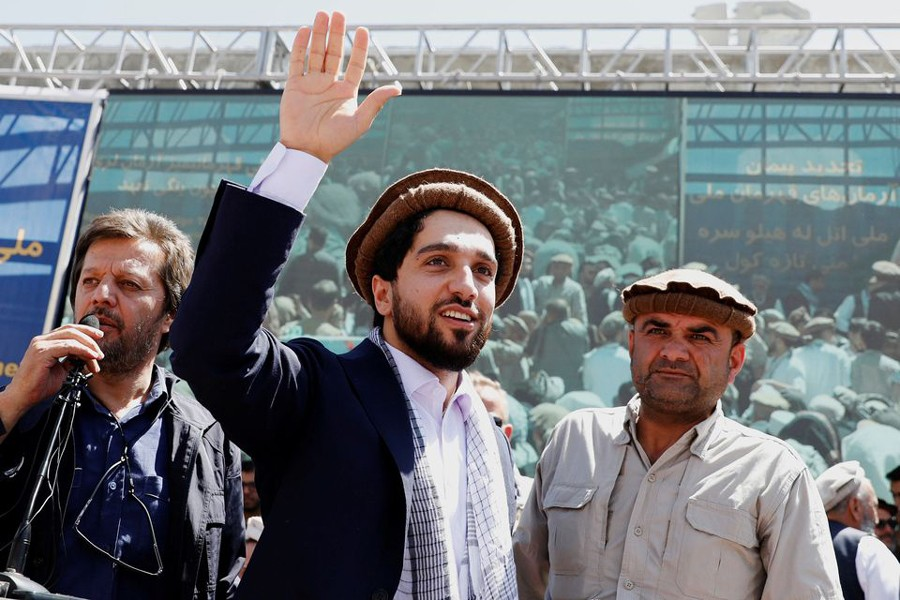 Ahmad Massoud, son of the slain hero of the anti-Soviet resistance Ahmad Shah Massoud, waves as he arrives to attend a new political movement in Bazarak, Panjshir province Afghanistan on September 5, 2019 — Reuters/Files