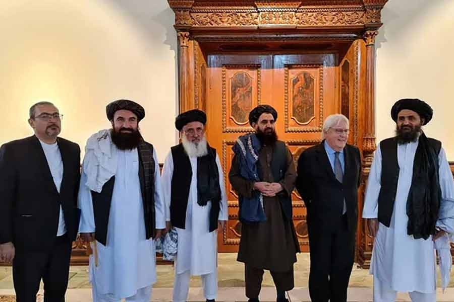 Taliban's Mullah Abdul Ghani Baradar meeting with Martin Griffiths, United Nations Under-Secretary-General for Humanitarian Affairs and Emergency Relief Coordinator, in Kabul recently -Reuters file photo