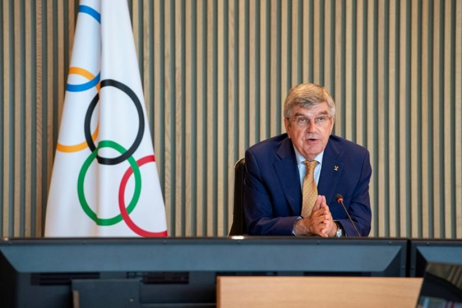 International Olympic Committee (IOC) President Thomas Bach attends the Executive Board virtual meeting at the Olympic House in Lausanne, Switzerland, September 8, 2021 — IO Handout via REUTERS