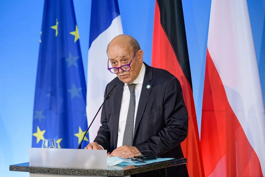 French Foreign Minister Jean-Yves Le Drian attends a joint news conference at the Bauhaus University in Weimar, Germany September 10, 2021 —Jens Schlueter/Pool via Reuters