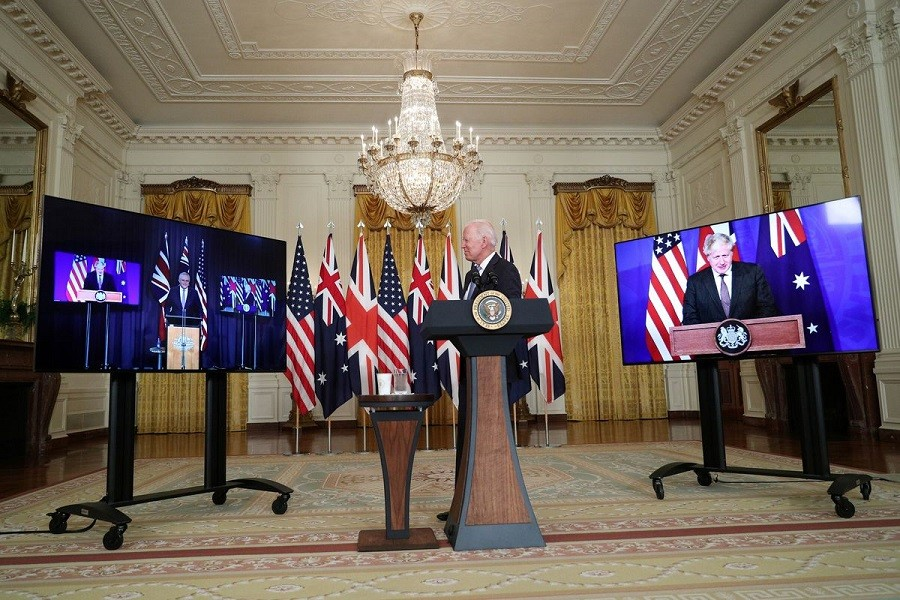 US President Joe Biden delivers remarks on a National Security Initiative virtually with Australian Prime Minister Scott Morrison and British Prime Minister Boris Johnson, inside the East Room at the White House in Washington, US, September 15, 2021 — Reuters/Tom Brenner