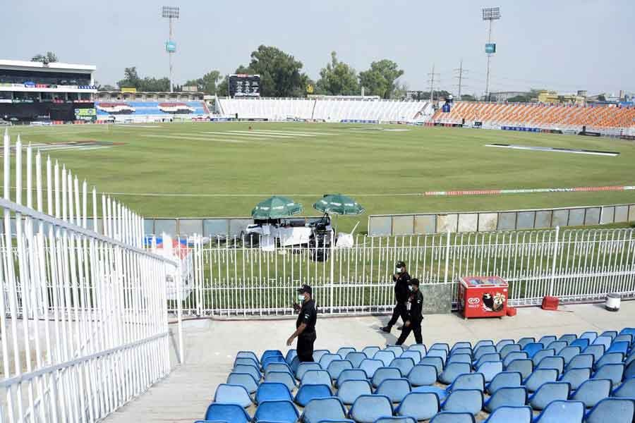 Members of the Police Elite Force walk in an enclosure at Pakistan's Rawalpindi Cricket Stadium on September 17 this year after the New Zealand cricket team pulled out of a Pakistan cricket tour over security concerns –Reuters file photo