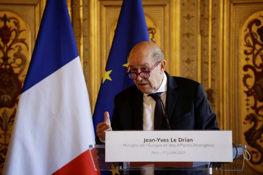 France's Minister for Foreign Affairs Jean-Yves Le Drian is seen in this undated photo — Pool via REUTERS
