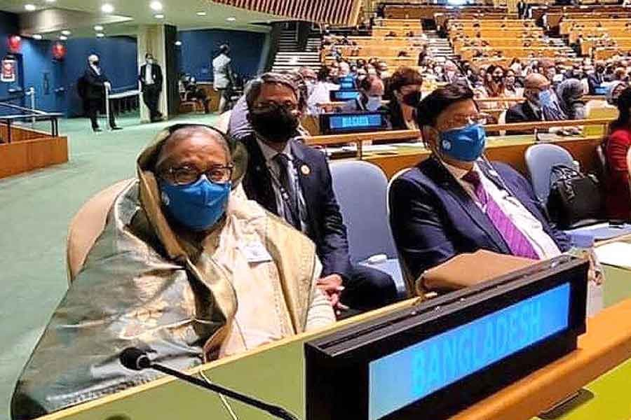 Prime Minister Sheikh Hasina taking part in the opening session of the high-level general debate of the 76th United Nations General Assembly (UNGA) at UN headquarters in New York on Tuesday –PID Photo