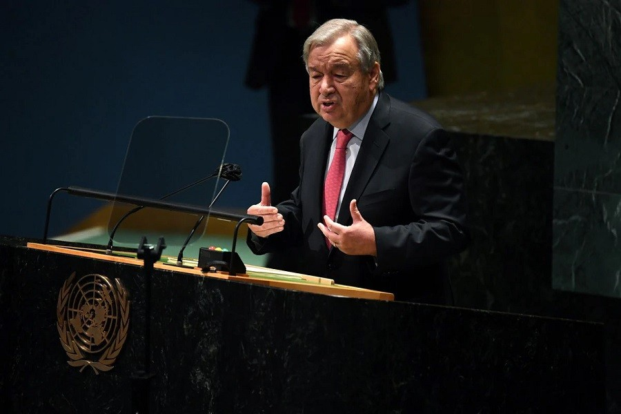 United Nations Secretary General Antonio Guterres speaks during the 76th Session of the General Assembly at UN Headquarters in New York on September 21, 2021 — Timothy A Clary/Pool via Reuters