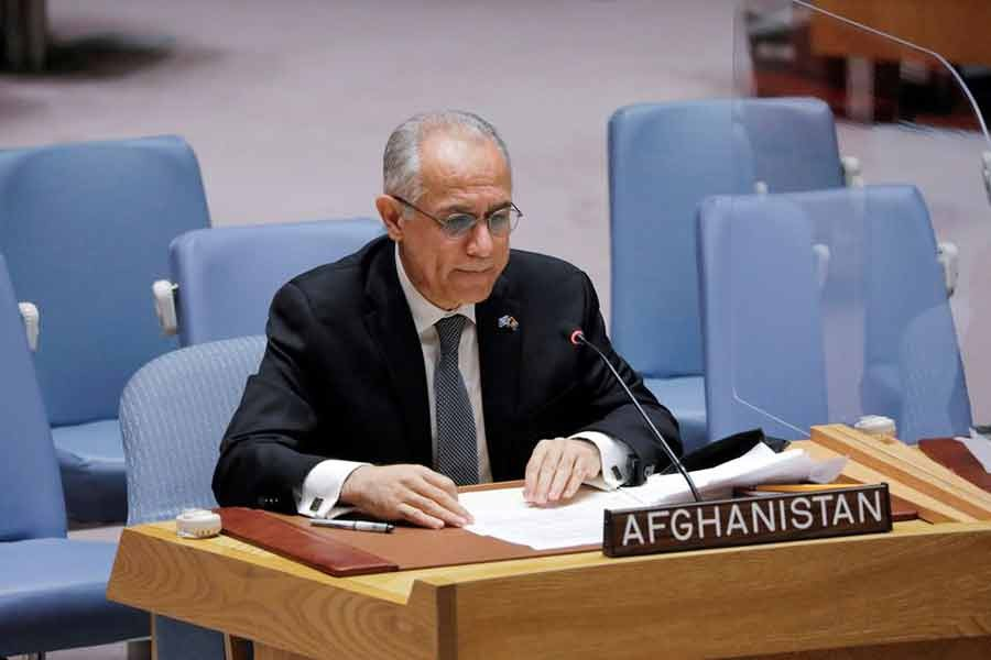 Afghanistan's UN ambassador Ghulam Isaczai addressing the United Nations Security Council regarding the situation in Afghanistan at the United Nations in New York on August 16 this year –Reuters file photo