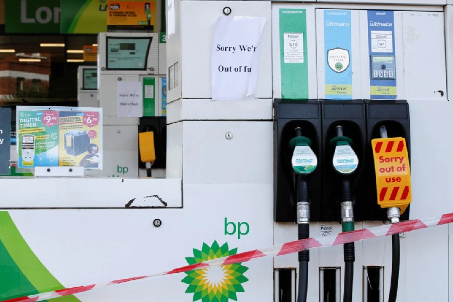A BP petrol station that has ran out of fuel is seen in London, Britain, September 26, 2021. REUTERS/Paul Childs