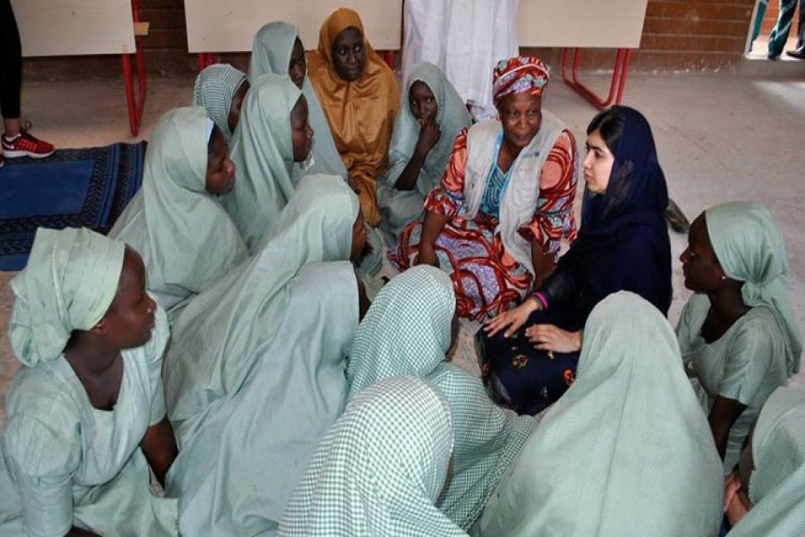 Malala visited internally displaced camps in and around the city of Maiduguri, where thousands have sheltered from Boko Haram's violence
