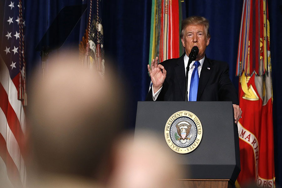U.S. President Donald Trump announces his strategy for the war in Afghanistan during an address to the nation from Fort Myer, Virginia, US on Monday.