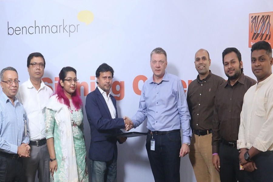 A view of the signing ceremony of the partnership deal between Banglalink and Benchmark PR.