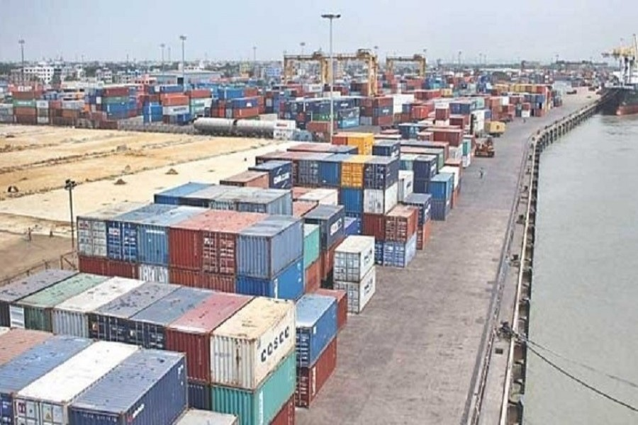 Containers are piled up at the Chittagong seaport that annually handles more than  90 per cent export-import trade in Bangladesh. File Photo
