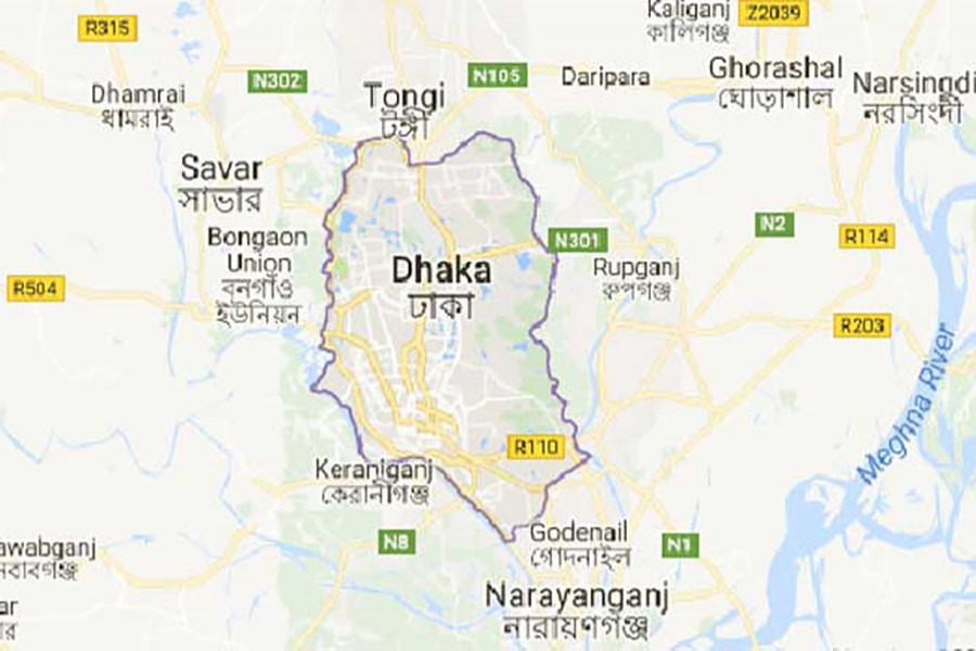 Google map showing Dhaka district.