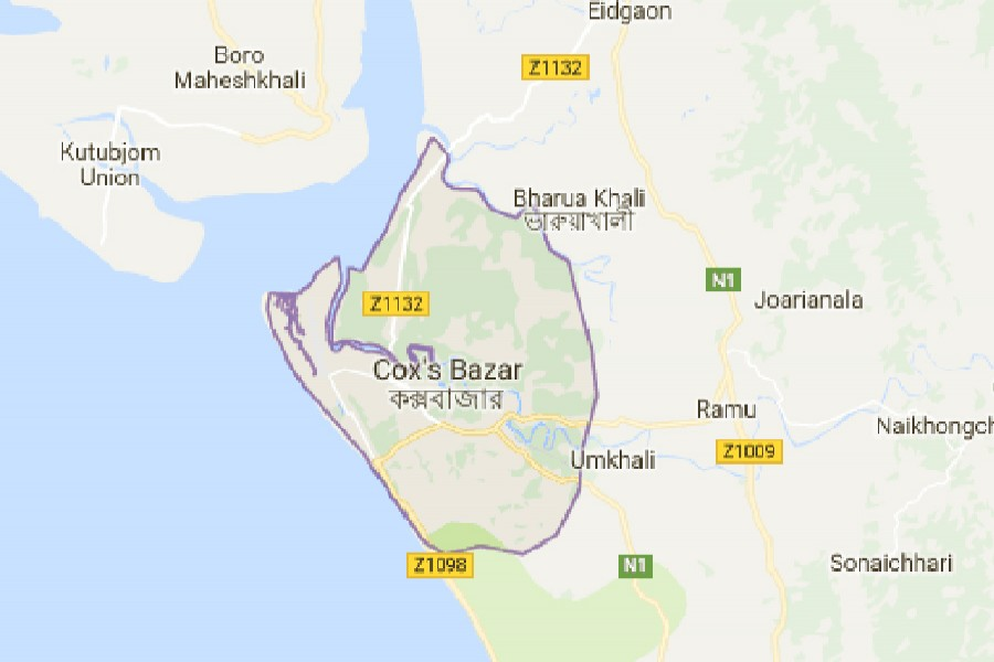 Google map showing Cox's Bazar district.