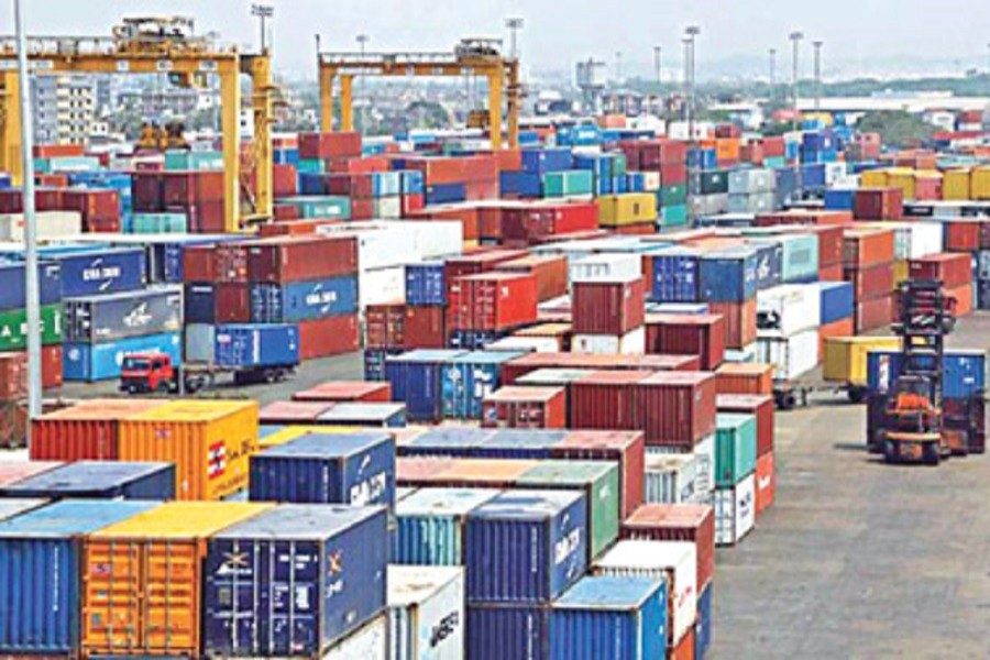 Containers are piled up at the Chittagong sea port. File Photo