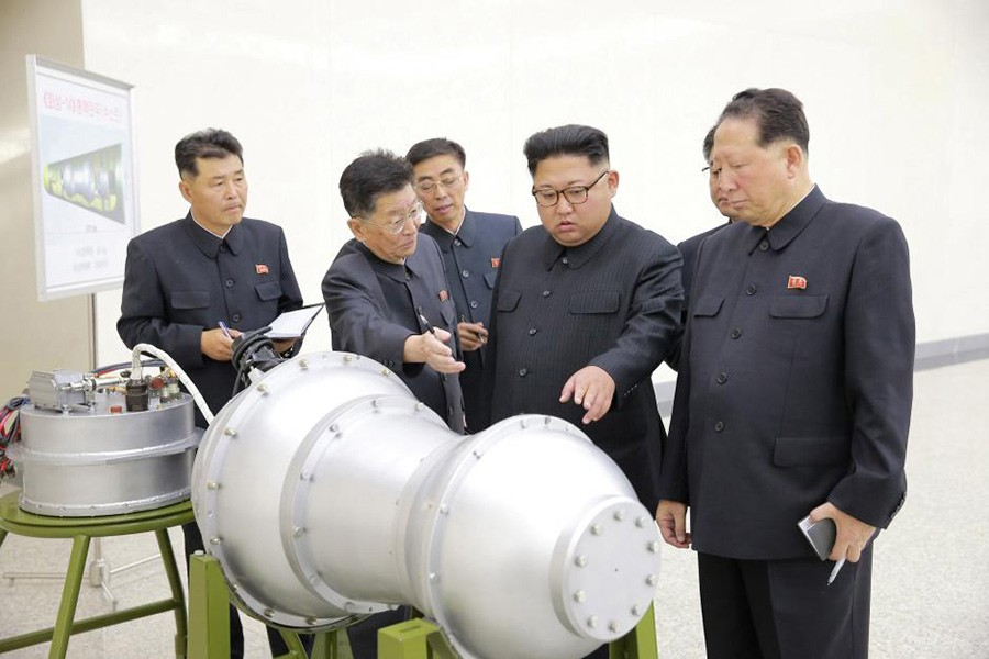 North Korean leader Kim Jong Un provides guidance on a nuclear weapons programme in this undated photo released by North Korea's Korean Central News Agency (KCNA) in Pyongyang September 3, 2017. - Reuters