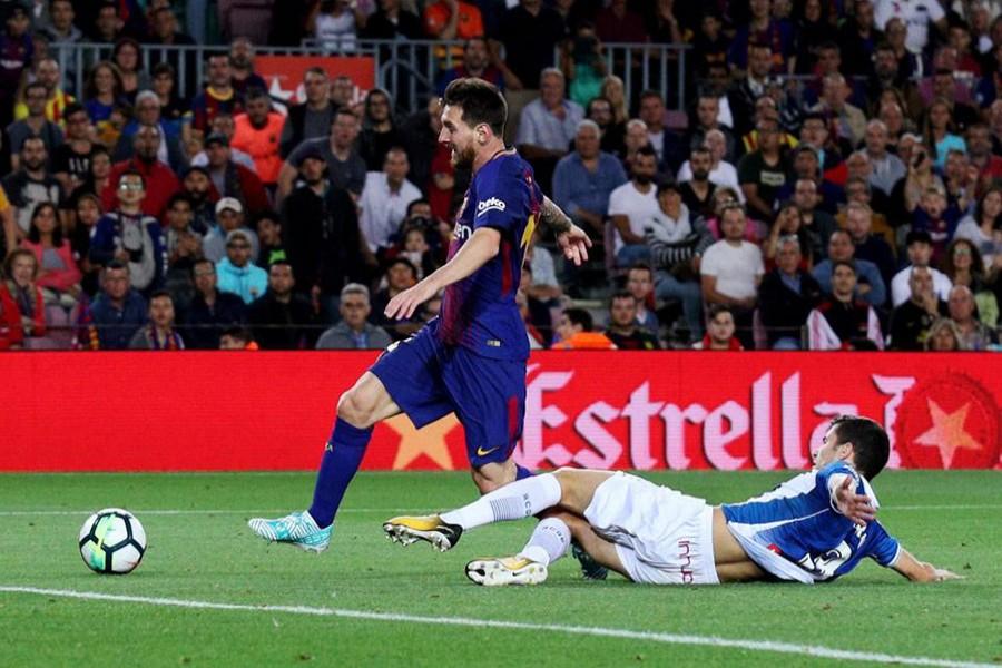 Messi grabbed his 38th Barca hat-trick in Espanyol rout on Saturday. - Reuters photo
