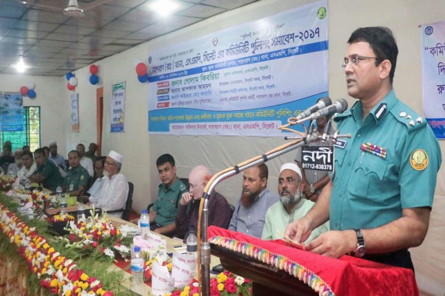 Commissioner of Sylhet Metropolitan Police Golam Kibria addressing the rally. 		 	— FE Photo