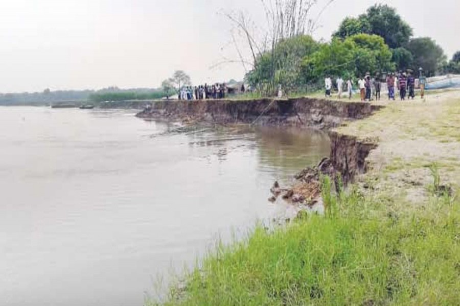 A vast area in Debinagar village under Chapainawabganj Sadar was eroded due to recent flood in the district. The snap was taken on Thursday. — FE Photo