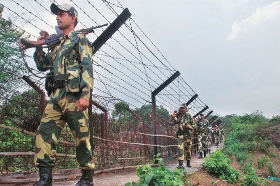 India border guards patrolling the Myanmar frontier to thwart infiltration bid of Rohingyas.— Reuters