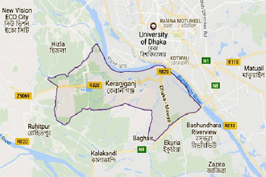 Google map showing Keraniganj upazila