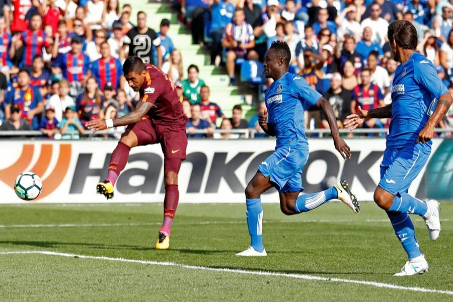Barca's Paulinho, who came on as a second-half substitute,  scored the winning goal against Getafe. - Reuters photo