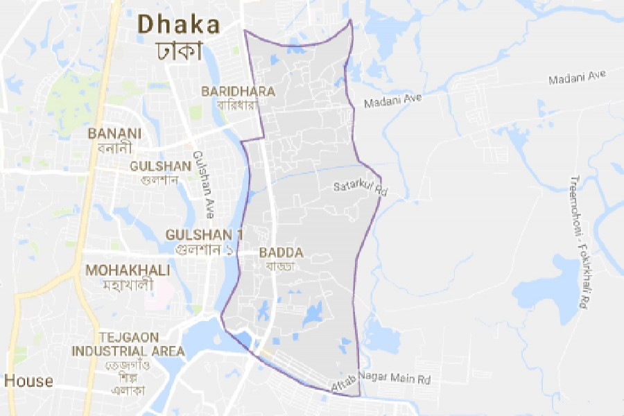 Google map showing Badda area of capital Dhaka.