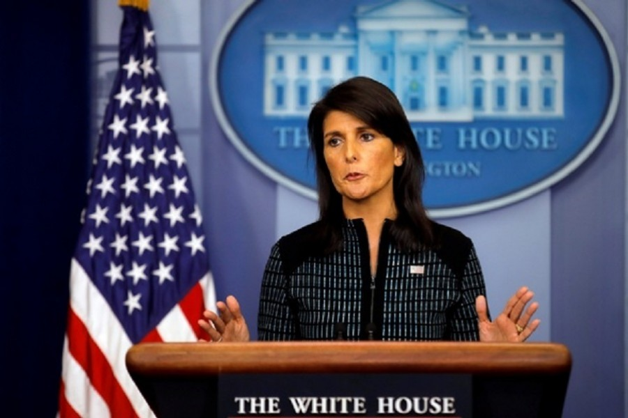 US Ambassador to the UN, Nikki Haley attends the daily briefing at the White House in Washington, US, Sept 15, 2017. Reuters