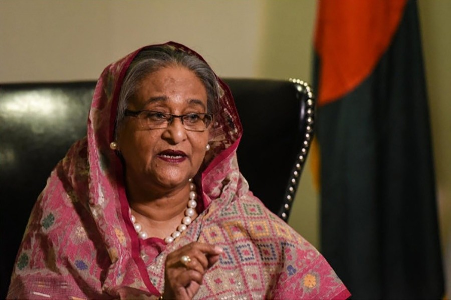 Prime Minister Sheikh Hasina speaks with a reporter during the United Nations General Assembly in New York City, US on Monday. - Reuters photo