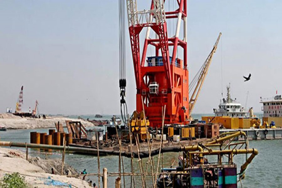 File photo shows the construction site of Padma Bridge.