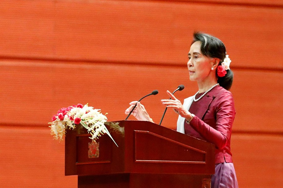 Myanmar State Counselor Aung San Suu Kyi arrives to deliver a speech to the nation over Rakhine and Rohingya situation, in Naypyitaw, Myanmar September on Tuesday. - Reuters photo