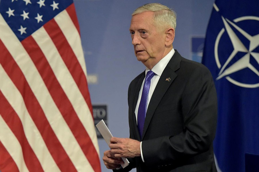 US Secretary of Defence Jim Mattis leaves a news conference after a NATO defence ministers meeting at the Alliance headquarters in Brussels, Belgium on June 29 last. - Reuters file photo