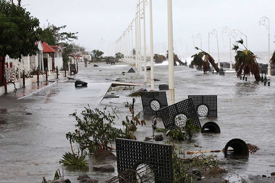 Debris lies on a flooded seafront after the passage of Hurricane Maria in Basse-Terre, Guadeloupe island, France on Tuesday. - Reuters photo