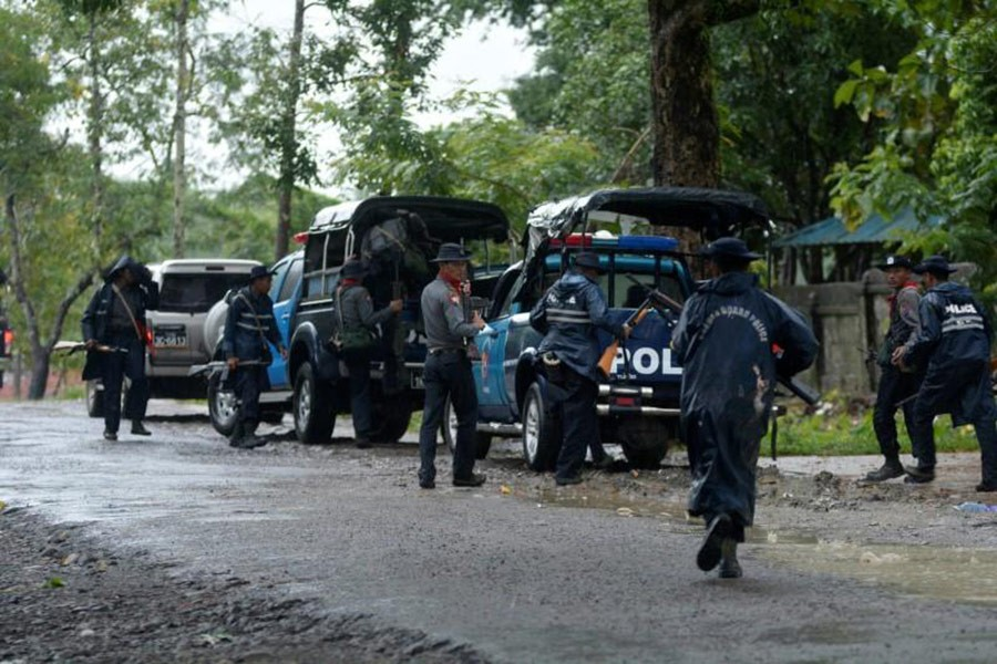 Police forces prepare to patrol in Maungdaw township at Rakhine state, northeast Myanmar, October 12, 2016. - Reuters file photo used only for representation.