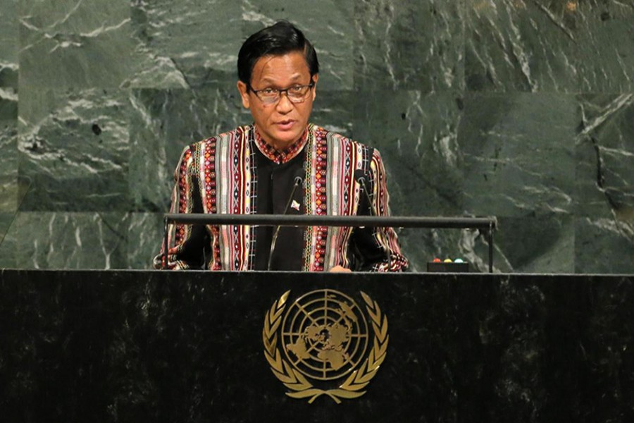 Myanmar Vice President Henry Van Thio addresses the 72nd United Nations General Assembly at UN headquarters in New York, US on Wednesday. - Reuters photo