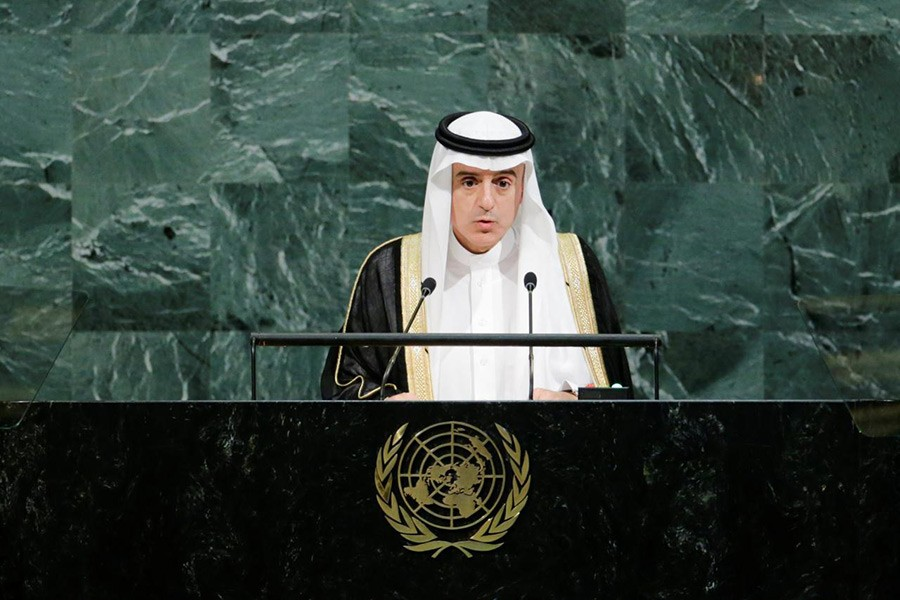Saudi Arabia's Foreign Minister Adel bin Ahmed Al-Jubeir addresses the 72nd United Nations General Assembly at UN headquarters in New York, US on Saturday. - Reuters
