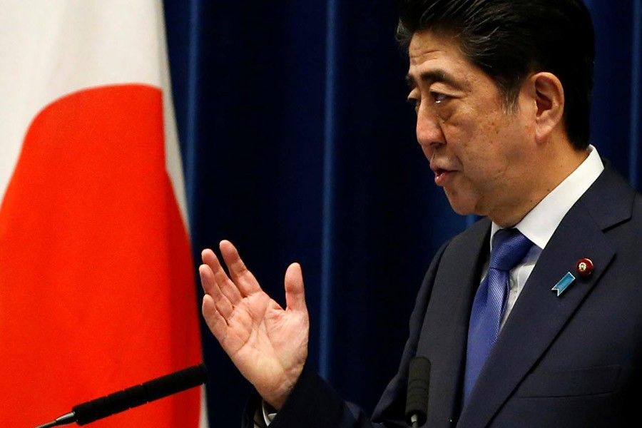Japan's Prime Minister Shinzo Abe attends a news conference to announce snap election at his official residence in Tokyo of Japan on Monday. -Reuters Photo