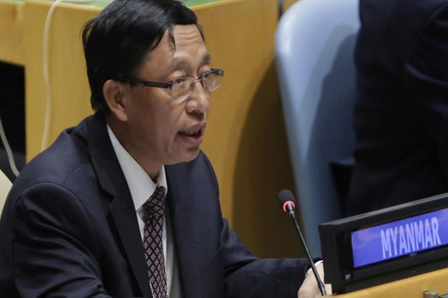 UN Ambassador Hau Do Suan of Myanmar exercises his right of reply in the United Nations General Assembly, at UN headquarters, Monday. - AP photo