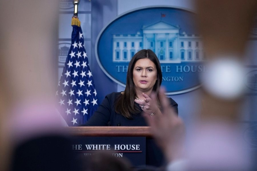 White House press secretary Sarah Huckabee Sanders delivers a news briefing at the White House. - Internet file photo