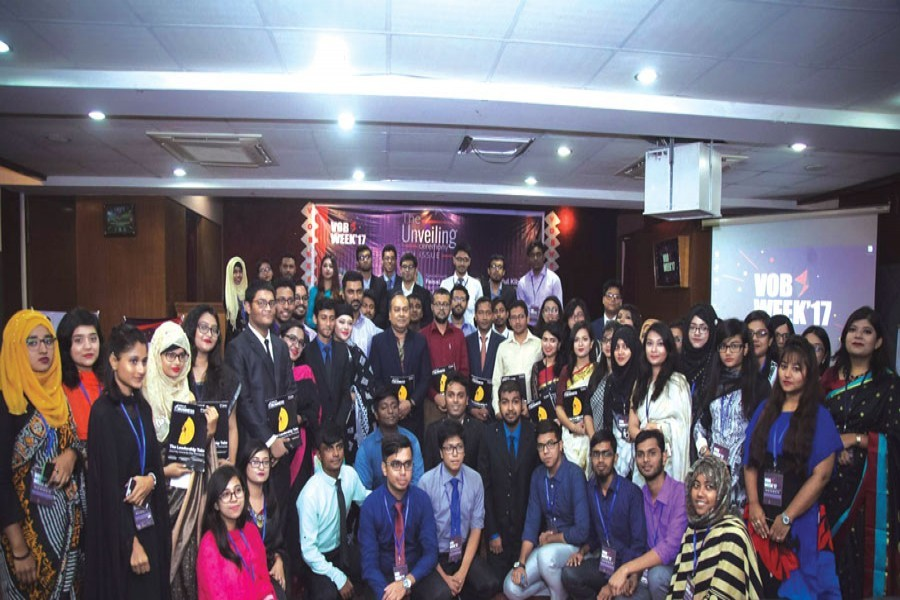 Voice of Business (VoB), a business club of the Faculty of Business Studies, University of Dhaka, unveils its eight issue in VoB week 2017. Guests, faculties and students are in the photo.