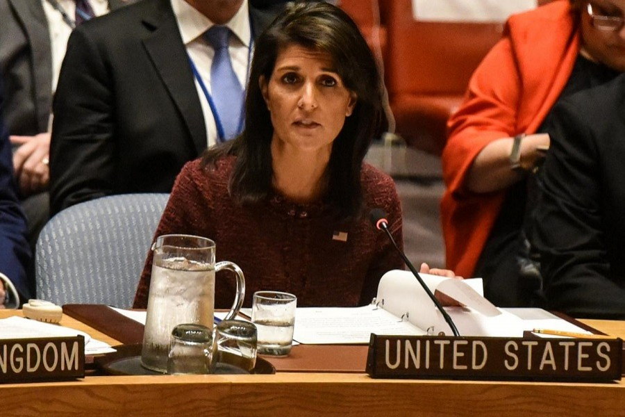 US Ambassador to the United Nations Nikki Haley delivers remarks at a security council meeting at UN headquarters during the United Nations General Assembly in New York City, US September 21, 2017. Reuters