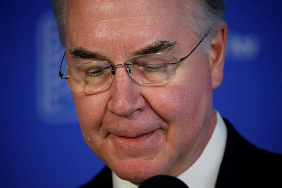 Health and Human Services (HHS) Secretary Tom Price speaks at a news conference on annual influenza prevention at the Press Club in Washington, US, Sept 28, 2017. Reuters