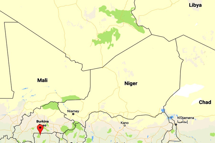 Google map showing Mali-Niger border area in West Africa