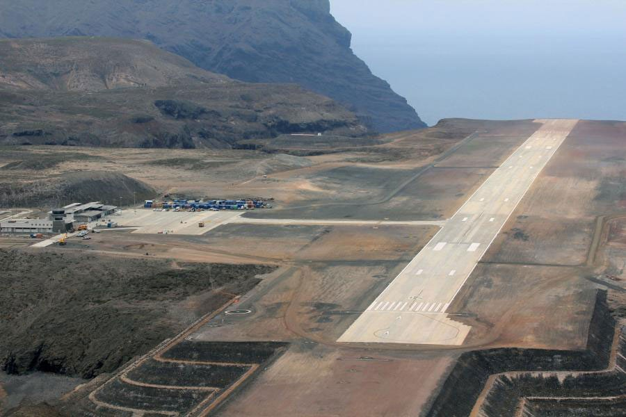 First landing: The runway at St Helena airport has sparked controversy in the past (Courtesy- Royal Navy/PA)